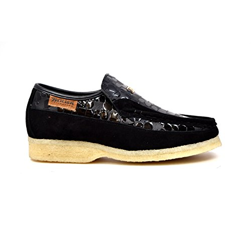 British Collection - Stone Croc Leather and Suede Black Slip On Shoes 11 bVuNolZ