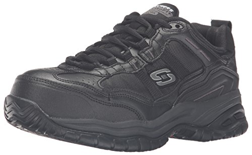 Skechers Men's Work Relaxed Fit Soft Stride Grinnel Comp, Black - 10 4E - Sneakers Mesh Leather