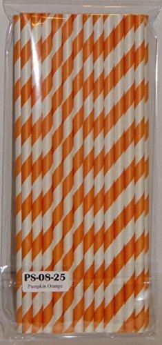 Orange Striped Paper Straws - Cake Pop Sticks Wedding Birthday Shower Halloween by CSG Home Service -