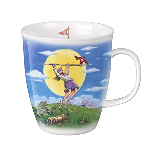 SVIV Curve New Bone China Coffee or Tea Mug, 16oz (Lady's Birdie on the Golf Course) (Mug Curve)
