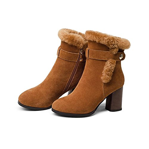 Black Heel Boots Fall Ladies Martin Winter Scrub Leather Women NVXIE High Rough EUR38UK55 Ankle Party BROWN xzpASWYwq