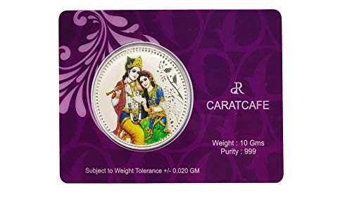 Coin Silver Ganesh - CARATCAFE Pure Silver 999 Coin Radha Krishna 3D Color Print 10 Grams (38 MM Size) Symbol of Love & Compassion