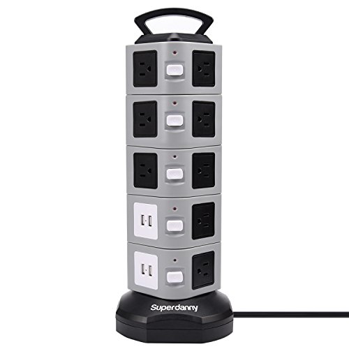 SUPERDANNY SDD005-5 Power Strip Tower Surge Protector 18 Outlet Plugs with 4.2A 4-USB Slot Electric Fast Charging Station 3000W 13A 16AWG 6.5ft Heavy Duty Cord Wire Extension for Home Office by SUPERDANNY