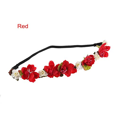 Women Bohemian Flower Headband Handmade Floral Crown Headband Party Wedding Wreath Bridal Headdress Elastic Hair Accessories,Red (Wreaths Kohls)