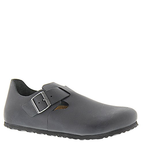 Birkenstock Unisex London Clog Adjustable Strap Slip On Loafer Shoe, Black Oiled Leather, 42 (Birkenstock Clogs Professional)
