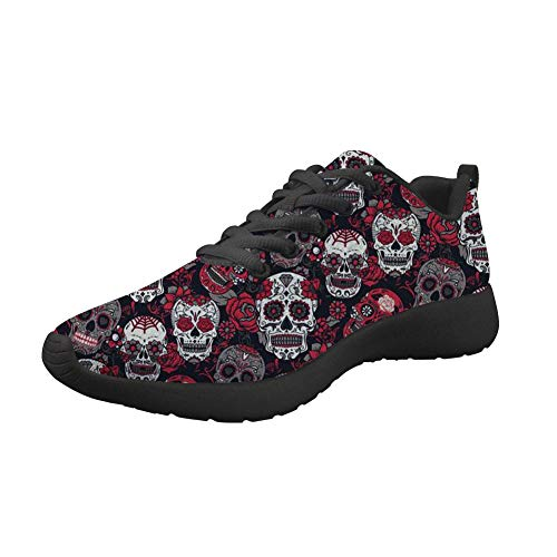 Coloranimal Vintage Sugar Skulls Pattern Gym Sports Well-Ventilated Lace-up Sneakers for Women Men Comfortable Breathable Air Mesh Lightweight Tennis Flat Shoes