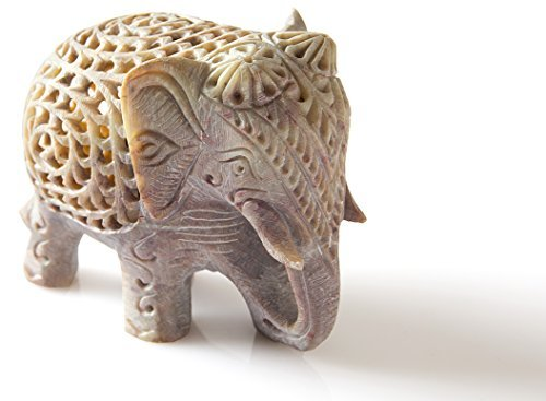 "StarZebra White Lucky Elephant Soapstone Figurine with Elephant in Belly Statue 4"" Handmade in Jali or Openwork From a Single Block of Stone From India"