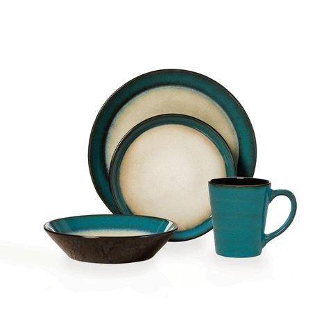 Pfaltzgraff Everyday Dinnerware, Aria Teal 16-Pc. Set, Servi