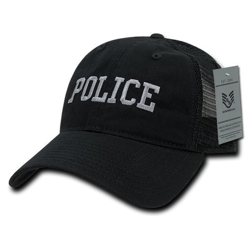 Police Trucker Hat - Rapiddominance Police Relaxed Trucker Caps, Black
