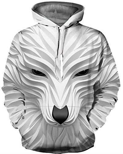KIDVOVOU Unisex Realistic 3D Digital Print Pullover Hoodie Hooded Sweatshirt,3D - Fox Sweatshirt Youth