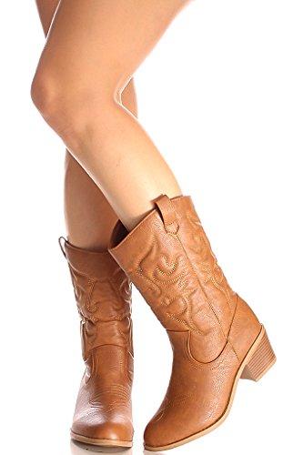 Lolli Couture Forever Link Wildleder Material Seitlicher Reißverschluss Schnalle Pelzbesatz Akzent Chunky High Heel Booties Tan Bdw14