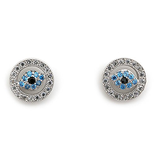 14k White Gold Blue and White CZ Cubic Zirconia Evil Eye Screwback Earrings by Beauniq