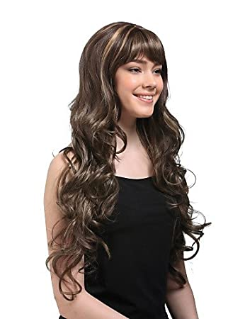 Amazon.com : Super-long Curly Brown Hair Wig MS13-SRT : Hair ...