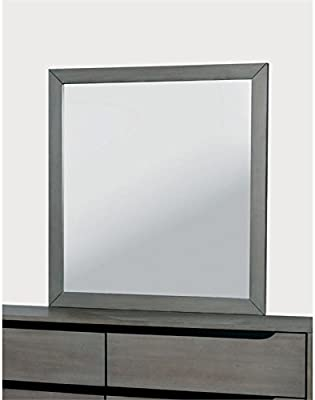 Furniture of America Zella Rectangular Mirror in Gray