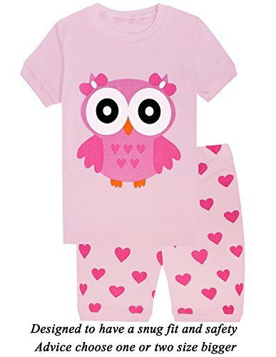 Little Girls Short Pajamas Owl 100% Cotton Toddler PJS Summer Clothes Shirts Size 2t (Owl Yours Pajamas)