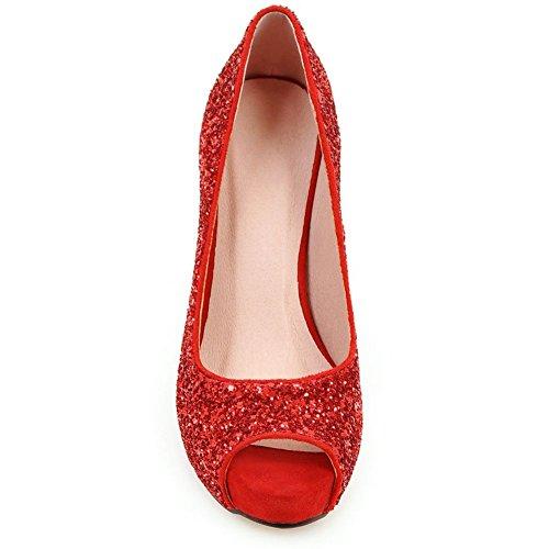 Fabric Pumps Heel Sequin KingRover Sequins Party Women's Thin Shoes Peep Shoes Platform Red toe High Wedding xa8qxC