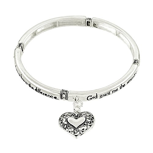 Lola Bella Gifts Serenity Prayer Bracelet with Message Bookmark and Gift -