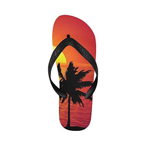 ... D-etasjers Tropisk Palmetre Og Solnedgang Flip Flops Strand Sandaler  For Menn / Kvinner ...