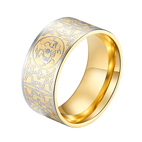 SINLEO Men's Stainless Steel Ring Ancient 4 Guardian Beast, Dragon, White Tiger, Suzaku, Basalt Carved Gold Plated Size 9 ()