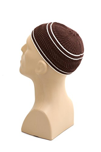 Kufi Skull Cap (Stretchy Elastic Beanie Kufi Skull Cap Hats Featuring Cool Designs and Stripes - One Size Fits Most (Brown w/ White Bands))