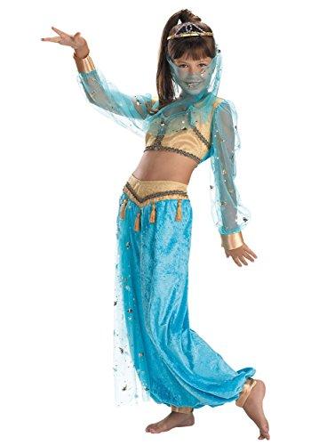 (Mystical Genie Girls Child Kids Arabian Harem Top Pants Veil Tiara Costume (L)