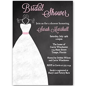 chalkboard bridal shower invitations gown dress wedding black pink