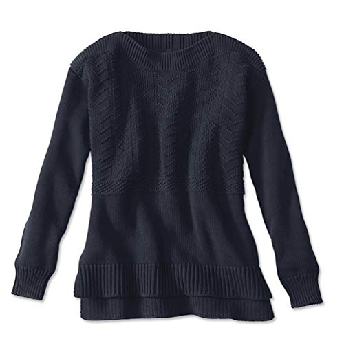 Orvis Women's Cotton Mixed Stitch Detail Sweater, X Large Navy