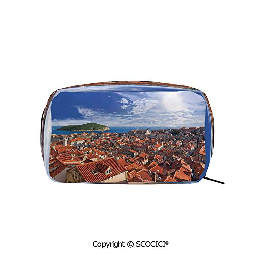 Printed Portable rectangle Makeup Cosmetic Bag Sunset of Dubrovnik City with the Island Mediterranean Culture Old Town Print Deco Durable storage bag for Women Girls