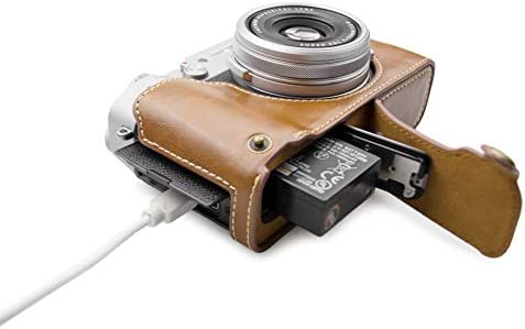 Muziri Kinokoo Fuji X100v Grip Hülle Pu Leder Unterseite Case Für Fujifilm X100v Schutzhülle Fuji X100v Halbtasche Braun Elektronik