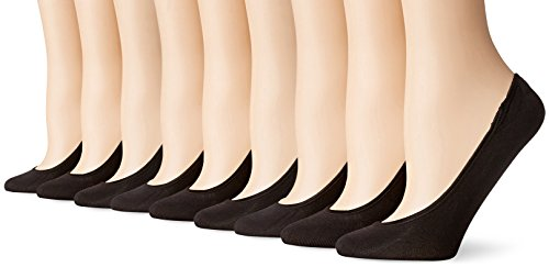 PEDS Women's Ultra Low Microfiber Liner with Gel Tab-6 Pairs, Black, Shoe Size 5-10