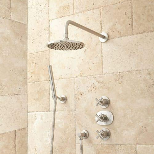 380036 Callas Thermostatic Shower System with Rainfall Shower Head and Hand Shower - Rough In Included