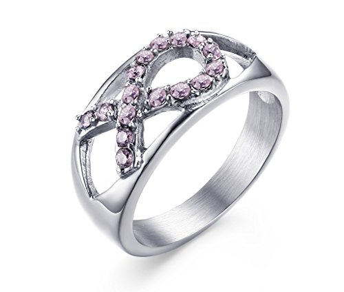 Stainless Steel Hollow Pink Ribbon Rhinestone Crystal Symbol Breast Cancer Awareness Band Ring, size 6 - Pink Ribbon Ring