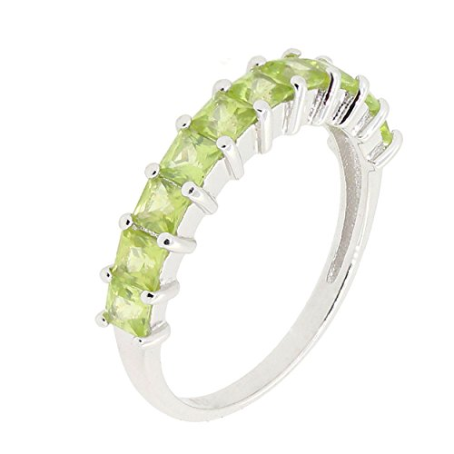 Band Peridot Ring - Sterling Silver Princess Cut Genuine Gemstone Aquamarine Blue Topaz Garnet Peridot Eternity Band Ring (9, Peridot)