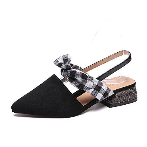 RUGAI-UE Zapatos casuales de moda, sandalias de verano, palabras con punta puntiaguda, taladro de agua, sandalias ásperas y sandalias. black