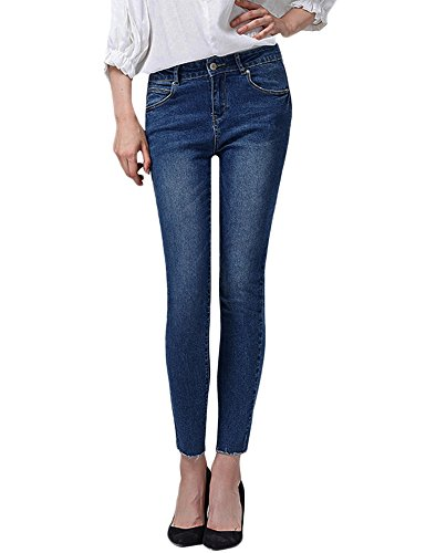 Women's Raw Hem Cropped Skinny Jeans Stretch Denim Pants