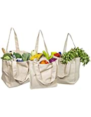 Best Canvas Grocery Shopping Bags - Canvas Grocery Shopping Bags with Handles - Cloth Grocery Tote Bags - Reusable Shopping Grocery Bags - Organic Cotton Washable & Eco-friendly Bags (3 Bags)