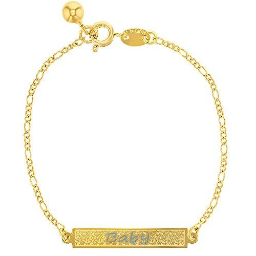 18k Gold Plated Light Blue Kids Baby Boy Tag ID Identification Bracelet 6