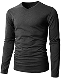 Mens Casual Premium Slim Fit T-Shirts V-neck Long Sleeve Cotton Blended