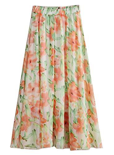 Chartou Woman's Flowy High Elastic Waist Floral Print Pleated Chiffon Summer Skirts (One Size, Orange-Green)