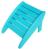 Phat Tommy Recycled Poly Resin Folding Ottoman – Durable & Nature-Friendly Patio Furniture matches Adirondack, Teal
