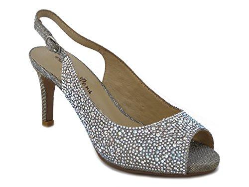 E 122 E17 Brillante Sandalo Silver Alma Plateau Tacco En Tessuto Gioiello 5cm 7 In Pena 6OwUTwqPA
