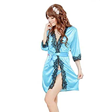 Comfortable And Smooth Material With Waist Belt, Fashion Robes For Ladies Nightwear