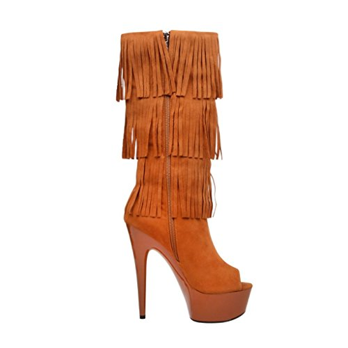 Version AMBER Suede Boot Heel 302 Highest The Fringe SP Thigh HIGH Micro Open 6