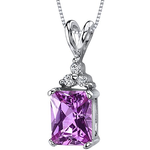 Created Pink Sapphire Pendant Necklace Sterling Silver Rhodium Nickel Finish Radiant Cut 3 CZ Accent