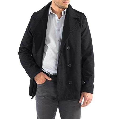 d69ba155d35 alpine swiss Jake Mens Wool Pea Coat Double Breasted Jacket - Import It All