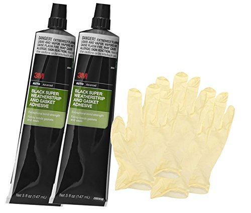 3M Black Super Weatherstrip Adhesive Tube (5 oz) Bundle with Latex Gloves (6 Items)