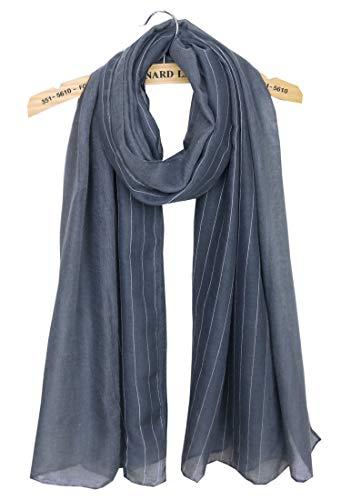Fashion Linen - Women's Warm Winter Scarf Fashion Scarves Lightweight Soft Cotton Linen Pashmina Shawls and Wraps Scarfs Solid Striped Grey