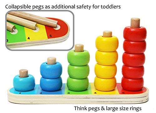 Wooden Stacking Rings Baby and Counting Game with 15 Rings - Stacking Rings - Counting Rings Early Learning Wooden Toys for 1 Year Old