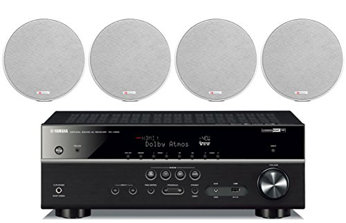 Yamaha 7.2-Channel Wireless Bluetooth 4K Network A/V Wi-Fi Home Theater Receiver + Boston Acoustics 6-1/2'' 2 Way High-Performance Natural Surround Sound In-Ceiling Speaker System (Set Of 4) by Yamaha