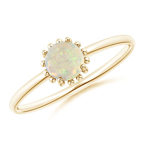 Solitaire Opal Ring with Beaded Halo in 14K Yellow Gold (5mm Opal)